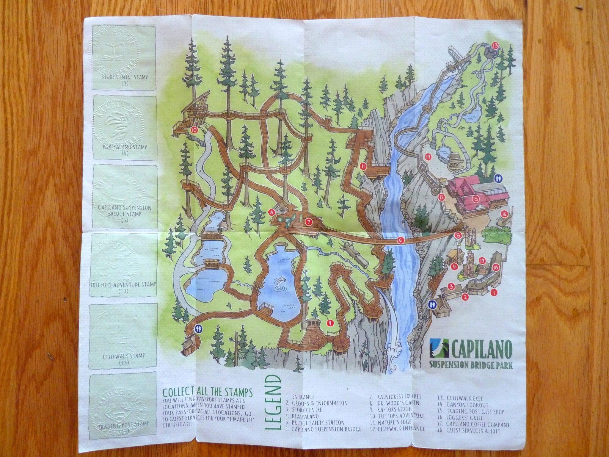 Mapa Capilano Suspension Bridge Park Vancouver Canadá Mundo Indefinido